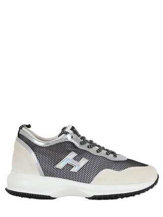 mesh sneakers suede white black shoes