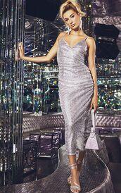 dress,sequins,sequin dress,metallic,silver,hailey baldwin,model,glitter,new year dresses