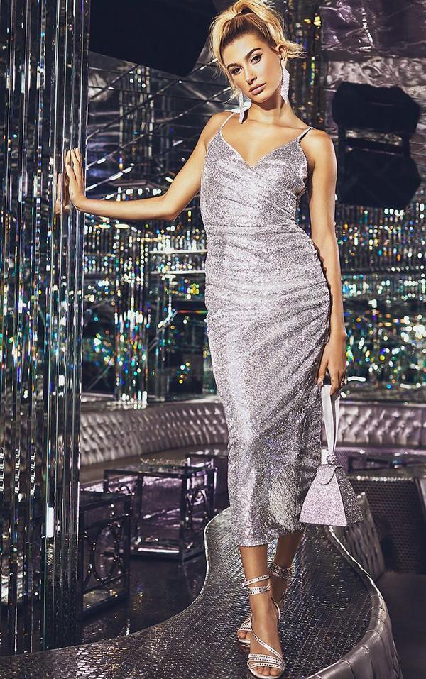 dress sequins sequin dress metallic silver hailey baldwin model glitter new year dresses