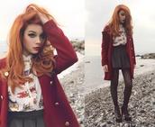burgundy,coat
