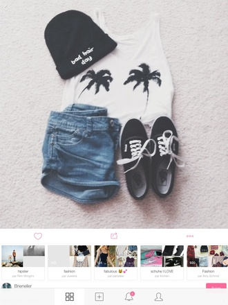 vans top denim summer outfits fall outfits style palm tree print denim shorts