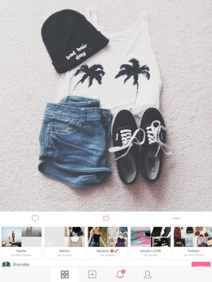 vans top summer outfits fall outfits style denim palm tree print denim shorts