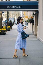 dress,blue dress,sandals,bag,big bag