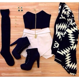white skirt crop tops black top statement earrings statement necklace skorts black and white aztec aztec sweater ootd shoes top black crop top high heels skirt socks black heels cardigan shorts sweater