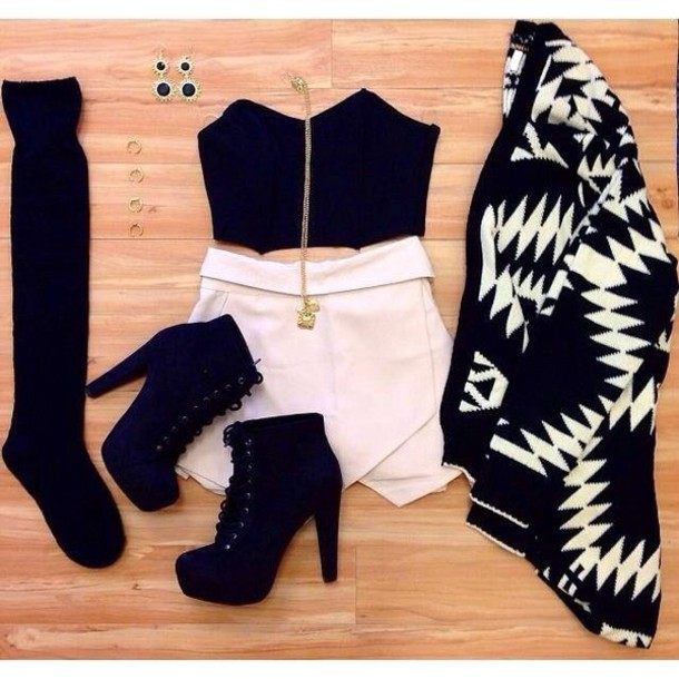 white skirt crop tops black top statement earrings statement necklace skorts black and white aztec aztec sweater ootd shoes top crop tops black crop top high heels skirt socks black heels cardigan sweater shorts