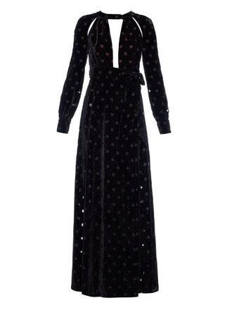 dress midi dress cut-out midi velvet black