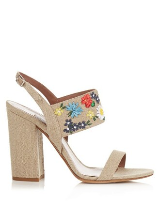 embroidered sandals beige shoes