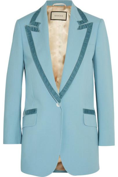 7df6e6282 Gucci - Velvet-trimmed Wool Blazer - Light blue - Wheretoget