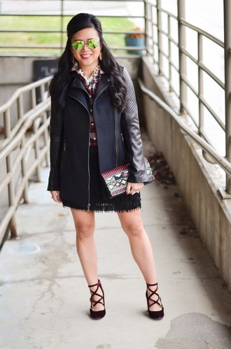 morepiecesofme blogger sunglasses jewels bag top jacket skirt shoes clutch plaid shirt high heel pumps mini skirt