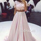 Custom made 2 pieces pink chiffon lace long prom dress, evening dress - 24prom