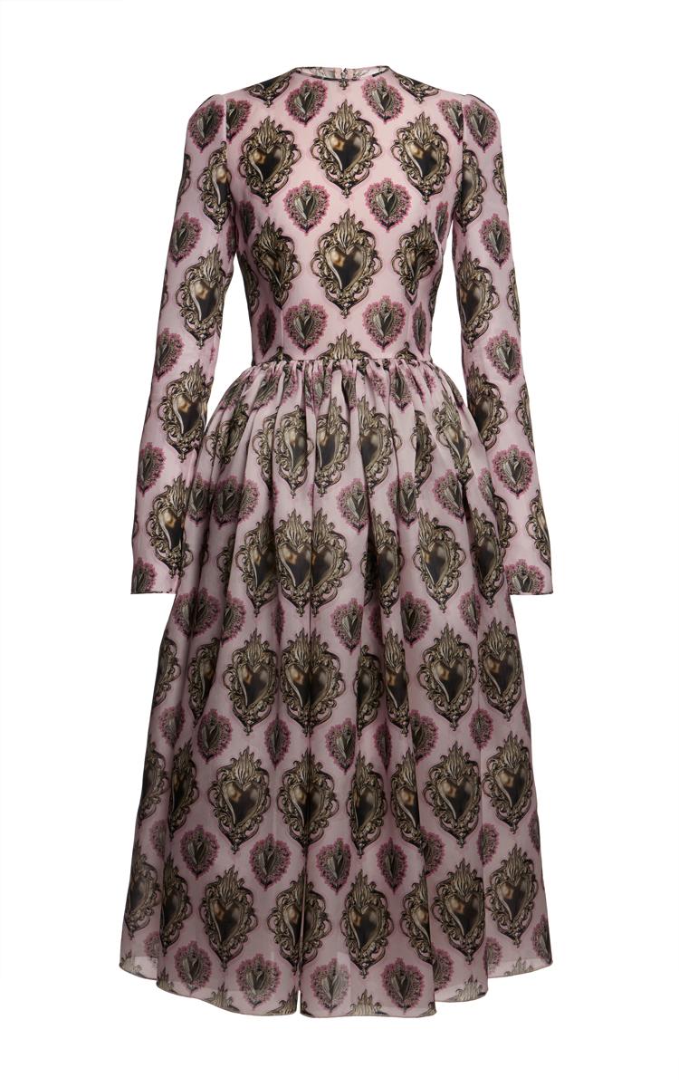 Long sleeve sacred heart organza dress by dolce & gabbana