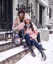 jacket,tumblr,fur jacket,faux fur jacket,pink jacket,scarf,denim,jeans,blue jeans,pants,black pants,black leather pants,leather pants,boots,black boots,ankle boots,winter outfits,winter look,girl squad,beanie,pom pom beanie,sunglasses,aviator sunglasses,mirrored sunglasses,bag