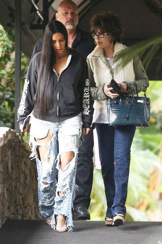 jeans ripped jeans kim kardashian hoodie jacket streetstyle