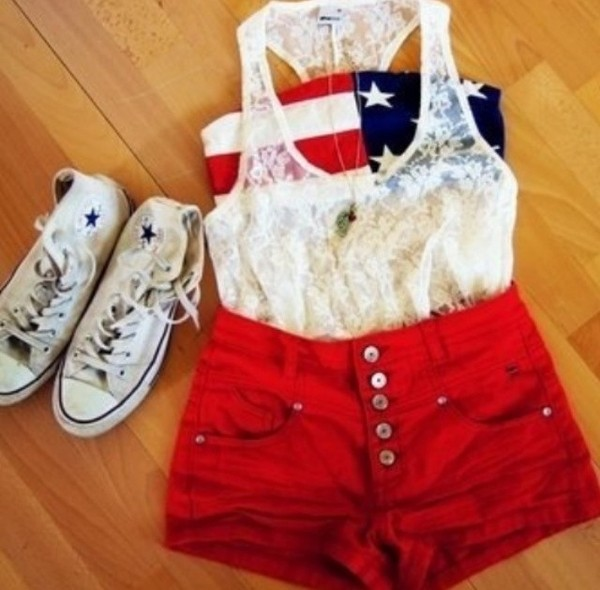 blouse shorts tank top underwear shoes