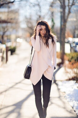themiddlecloset blogger sweater jeans shoes bag cardigan shoulder bag winter outfits ankle boots black jeans new year's eve acne studios booties chanel chanel bag winter look