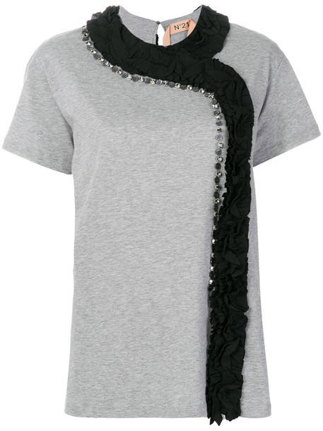 No21 - ruffle panel T-shirt - women - Cotton/Acetate/Silk/Mother of Pearl - 38, Grey, Cotton/Acetate/Silk/Mother of Pearl