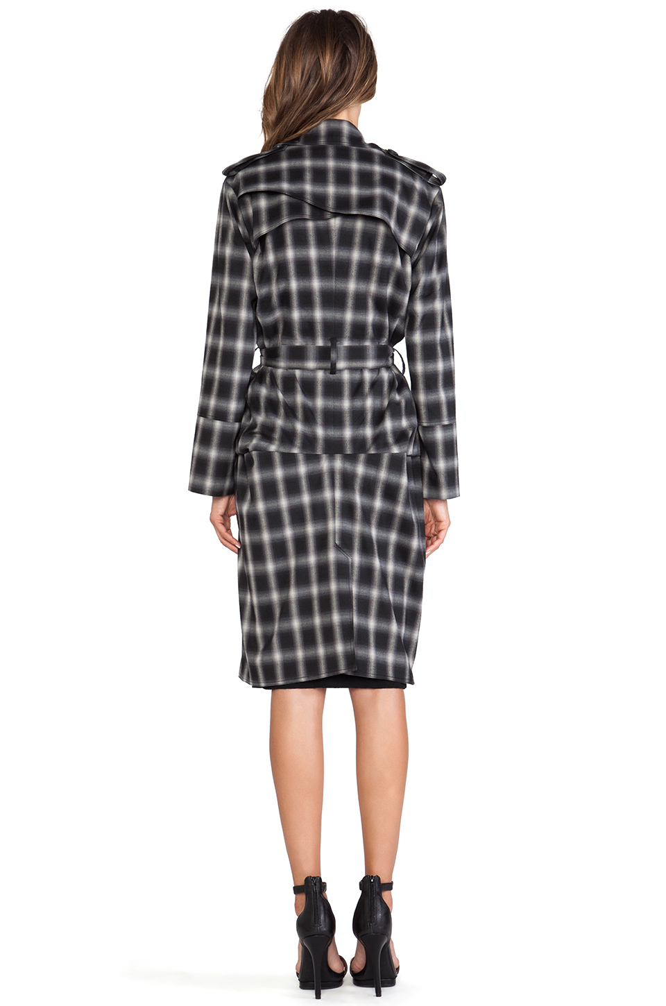 Line & dot keaton trench coat in cobain plaid from revolveclothing.com