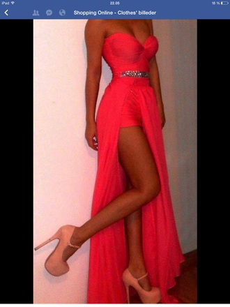 prom dress maxi dress chiffon homecoming dress high heels red dress red heels