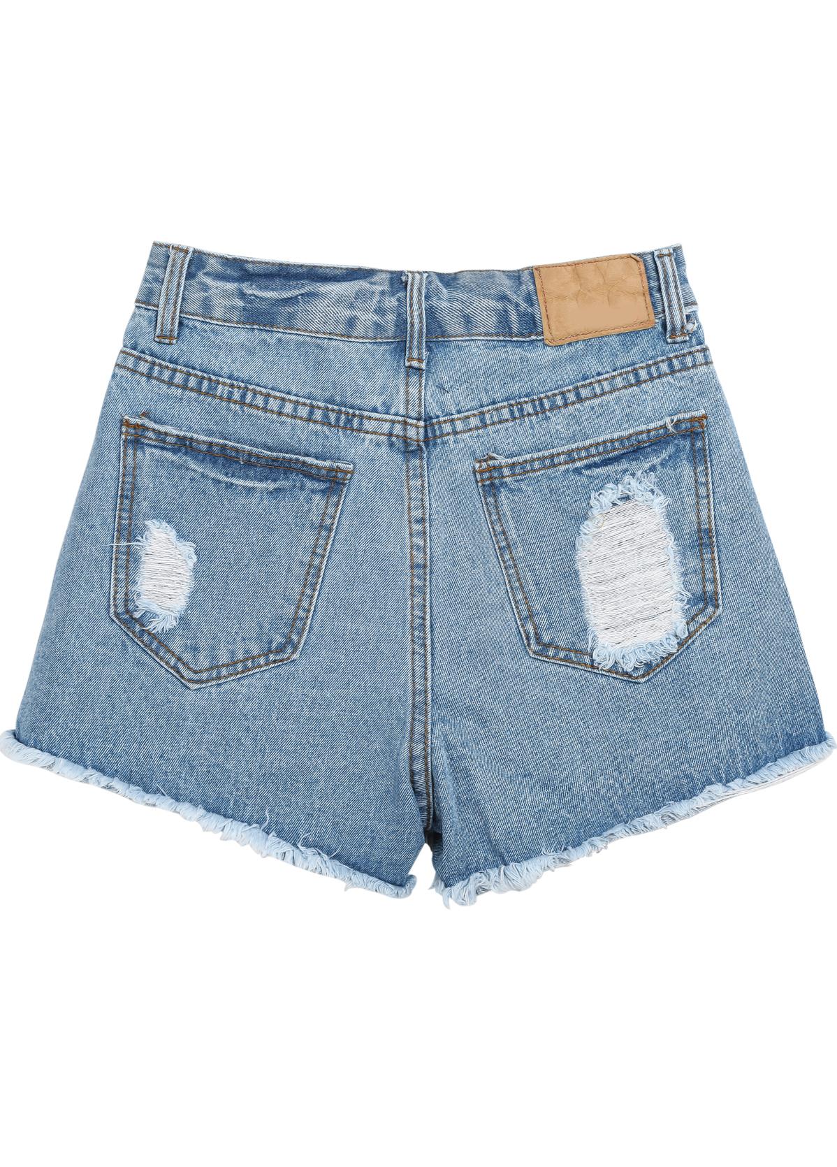 Blue Fringe Ripped Straight Denim Shorts - Sheinside.com