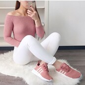 shoes,pink,adidas,nude,sneakers,trainers,pants,top