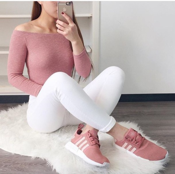 shoes, pink, adidas, nude, sneakers