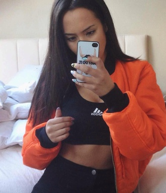 jacket orange jacket bomber jacket