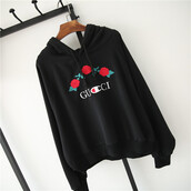 sweater,gucci,black,cool,trendy,floral,roses,long sleeves,embroidered,champion,beautifulhalo