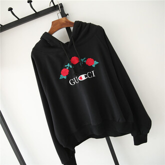 sweater gucci black cool trendy floral roses long sleeves embroidered champion beautifulhalo