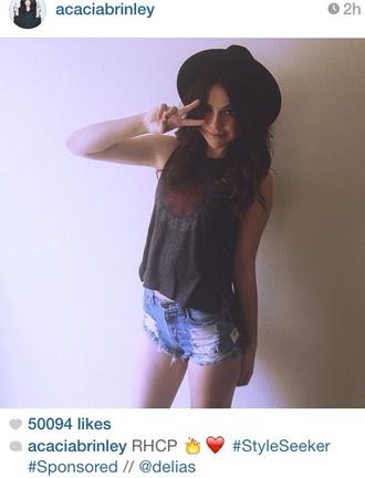 shorts acacia brinley hipster tumblr tumblr girl high waisted denim shorts hat shirt