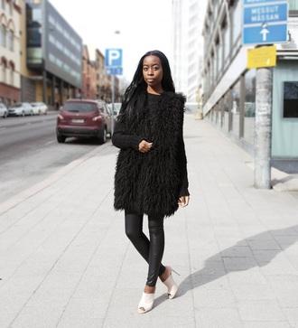 sylvie mus blogger peep toe heels mules leather leggings vest fluffy