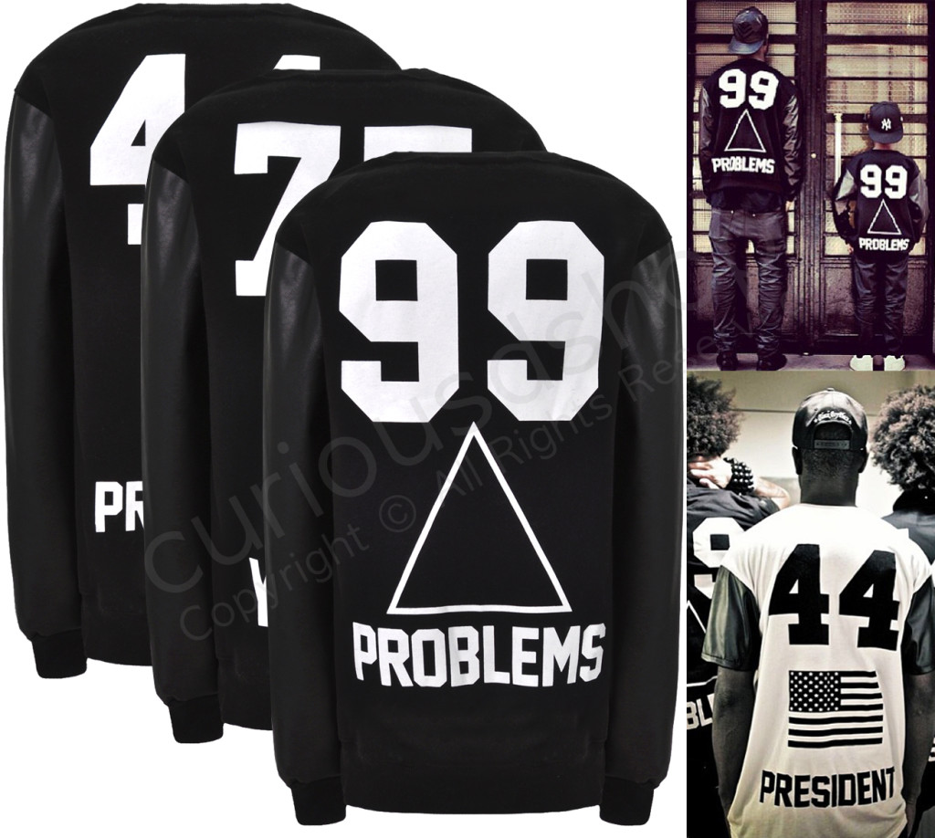 New Leather Sleeve 44 President 77 Yeezy 99 Problems Sweatshirt Pullover Black | eBay