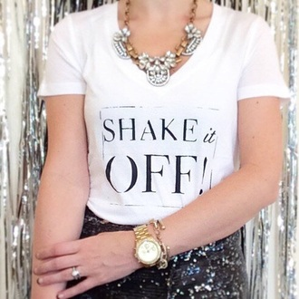t-shirt necklace gold watch white t-shirt slogan t-shirts statement necklace layering bracelets sequined skirt