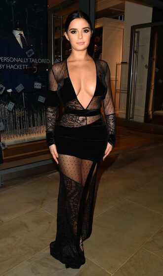 dress demi rose plunge dress see through see through dress black dress gown prom dress