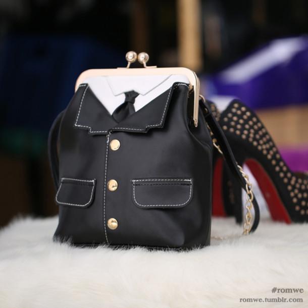 bag black and white purse coin purse