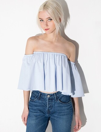 top off the shoulder light blue off the shoulder top