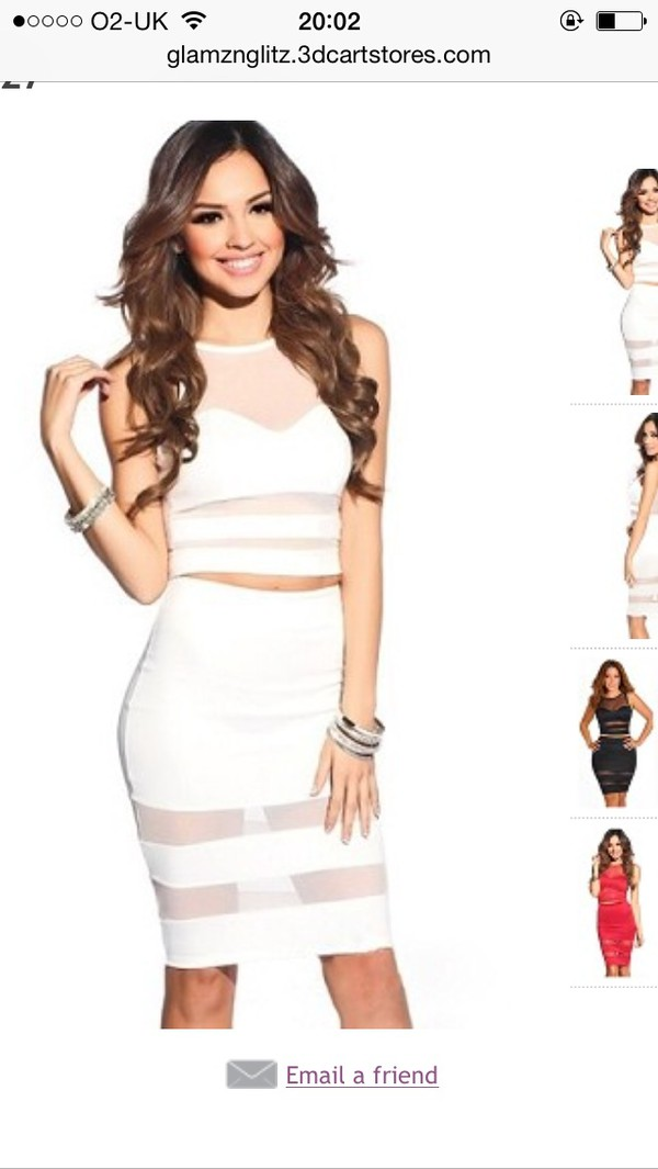 dress white dress coordinated mesh party high waisted skirt bodycon