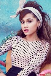 top,ariana grande,bows,polka dots,blouse