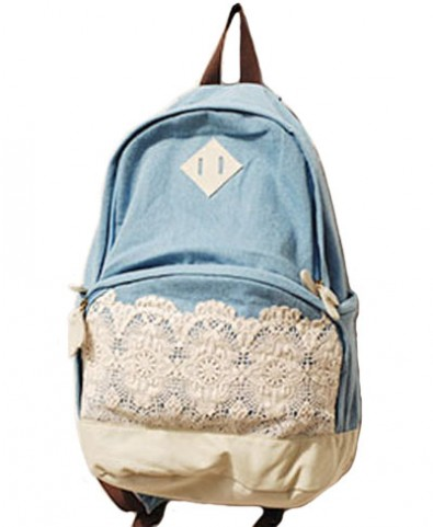 Lace Floral Canvas Backpack with Pockets Side - Not  Leather - Backpack Bags - Bags - Accessories