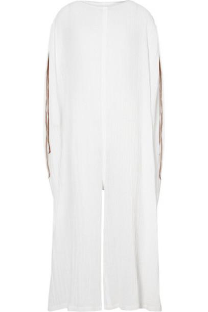 Caravana jumpsuit leather white cotton