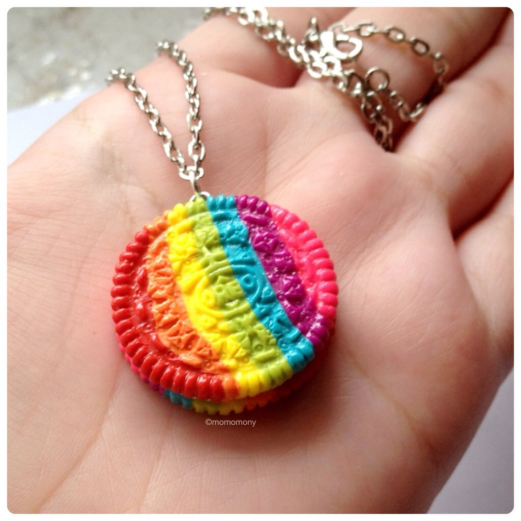 Super Cute Rainbow Oreo Cookie Necklace by momomony on Etsy