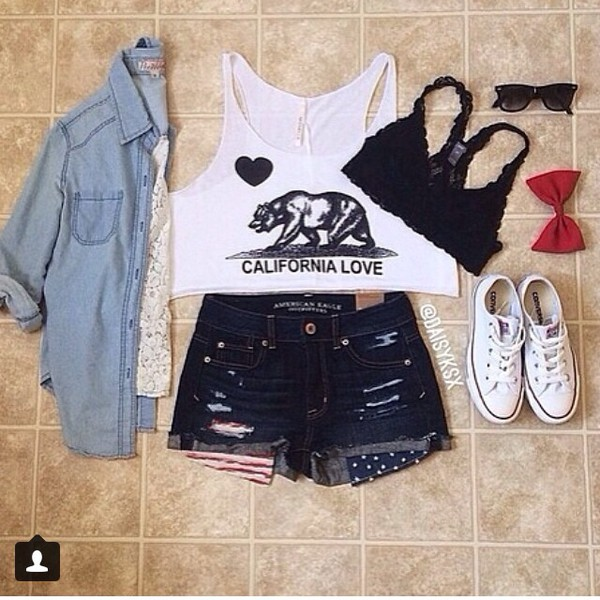blouse california top california love shorts