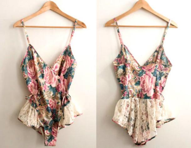 Swimwear Floral Bodysuit Leotard Top Lace Pink Blue Straps
