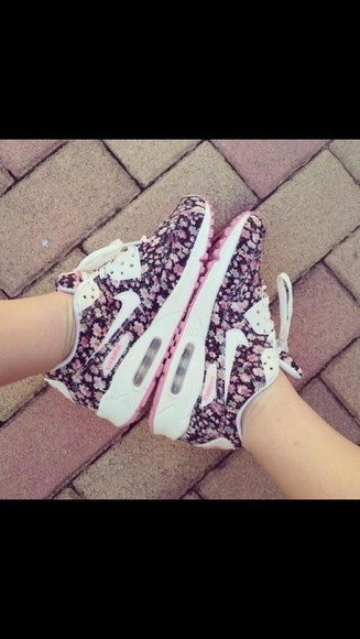 unique shoes tennis floral air max purple amazing pink