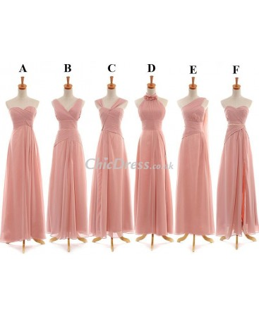 Different Styles Chiffon Long Bridesmaid Dress In Same Color TBP0092