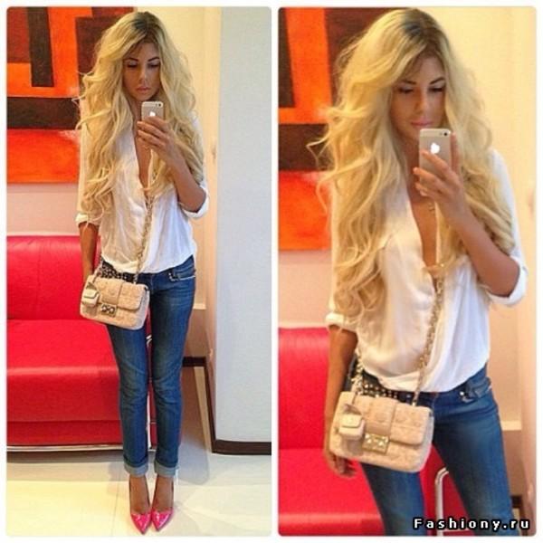 blouse уфи bag jeans shoes