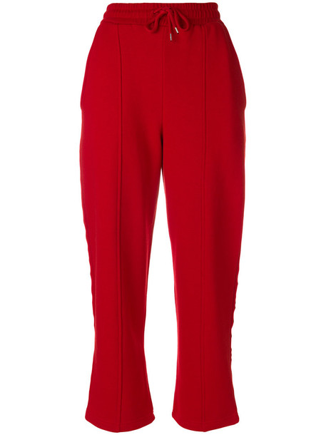 sweatpants embroidered women cotton red pants