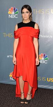 dress,red dress,red,asymmetrical dress,midi dress,mandy moore
