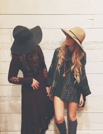 dress boho indie maxi mini 70s style 1970 hat floppy hat floppy hats pendant long sleeves gypsy