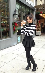 shoes,high heels boots,boots,black,sweater,black and white,hair accessory,skirt,mini skirt,black skirt,turtleneck,striped sweater,cropped sweater,hair bow,black boots,striped turtleneck,camila cabello,celebrity style,celebrity,stripes,opaque tights,tights,knee high boots,striped turtleneck sweater