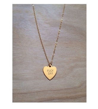 jewels necklace fuck off gold jewelry heart lovely style chain